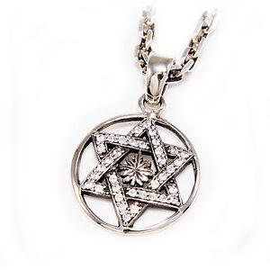 JUDAISM STAR OF DAVID 925 STERLING SILVER WHITE CZ JEWS JUDAH PENDANT gb-034