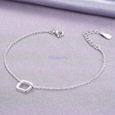 Genuine 925 Sterling Silver Adjustable Square Link Bracelet Extend Chain Ladies