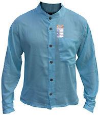 Algodón Verano con Botones Abuelo Camisas Informal de Casa Liso Kurtas Hombre