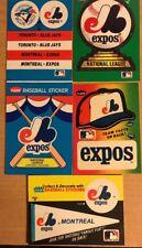 Montreal Expos 5 Collectible Stickers, 1980's, Fleer