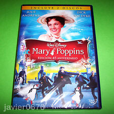 MARY POPPINS EDICION 45 ANIVERSARIO CLASICO DISNEY HONORIFICO 2 DISCOS DVD