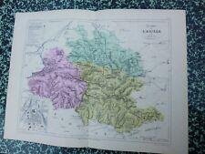 Carte géographique couleur 19°:L'ARIEGE avec le plan de FOIX
