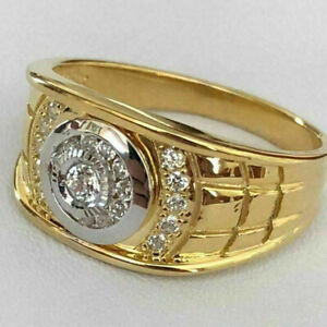 Fashion 18K Gold Men's White Sapphire Diamond Ring Party Band Rings Size 7-13