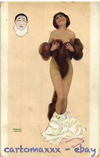 Raphael Kirchner Postcard - Woman with Pierrot Mask - K050