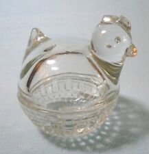 Vintage Small Clear Round Crystal Covered Rooster Trinket Dish Made in the Usa
