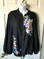 Chicos Reversible Bomber Jacket Garden Butterfly Floral Black White Stripe 4 New