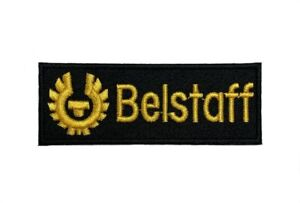 BELSTAFF Logo Patch Embroidered Iron on Badge (Black + Gold) Aufnäher 70mm Biker