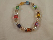 Multicolored Prism Bead & Celestial Cube  Crystal Glass bracelet 8.25""