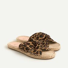 J. Crew New In Box Twisted-Knot Espadrille Sandals in Leopard Canvas Size 7