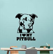I Love My Pitbull Wall Decal Pet Dog Vinyl Sticker Kids Decor Poster Art 225zzz