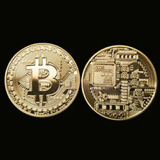 10 Rare Bitcoin Gift Stock Golden Iron Commemorative Coin Gifts Collectible UK