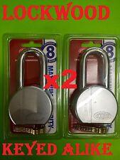 2 x Lockwood Maximum Security 301 Series Steel Padlock keyed alike 3 keys