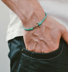 Mens anchor bracelet silver anchor turquoise wristband jewelry for men gift him