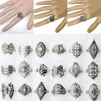 50/100pcs Wholesale Bulk Jewelry Lot Mixed Style Tibet Silver Vintage Rings Gift