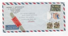 1989 GREECE Air Mail Cover ATHENS to CLEETHORPES GB Gutter PAIR Moschopoulos