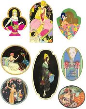 Vintage 8 ladies deco  perfume Paris label illustrations on glossy paper crafts