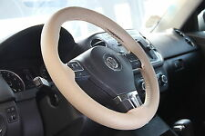 BEIGE PVC Leather Steering Wheel Stitch Wrap Cover w/ Needle Thread DIY Fiat Ram