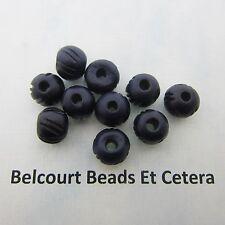 50 Bone Beads Navy Blue Hand Carved Size:  9x10mm Shape:  Round Bone Beads