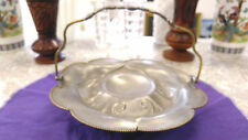 Bridal basket  pewter with spider wed marking and star W  footed victorian
