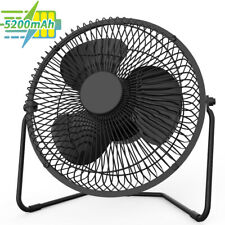 9 inch USB Desk Table Portable Black Fan, 4 Speeds ,5200mAh Battery,360 Rotation