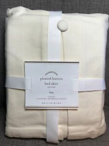 """Pottery Barn Foundations Pleated Button BED SKIRT Cream KING 14"""" Drop"""