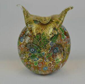 Vintage Murano Campanella Italy Gold Millefiori Glass Speckle Owl Figure Weight