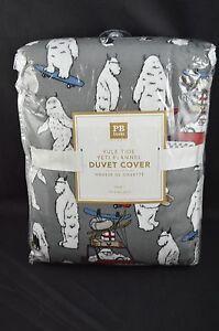 Pottery Barn Teen Yule Tide Yeti Flannel Duvet Cover Twin Gray #18