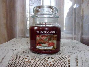 Yankee Candle Cranberry Chutney Medium 14.5 oz. burgundy candle unburned new NOS