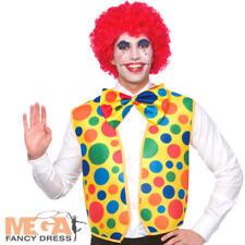 Clown Waistcoat & Bow Tie Mens Fancy Dress Circus Joker Adults Costume Accessory
