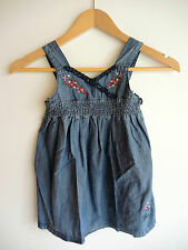 Gorgeous Girls GUESS Designer Denim Summer Dress with Floral Embroidery Size 4 5