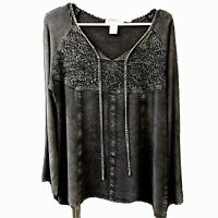 Indigo Alley Co Hippie Open Neck Rayon Shirt Bell Sleeve Stone Wash Gray Large