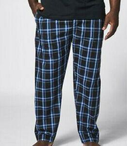MENS MAXX plus size 6XL POPLIN blue check sleep pants  elastic waist pockets NEW