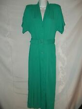 Ladies Size 8 Rabbit Designs Tiff Green 80's Style Belted Pleated Dress