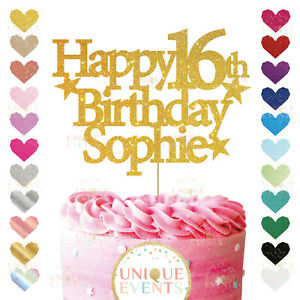 Personalised Happy Birthday Cake Topper 16th 21st 50th 60th Custom Any Name Age