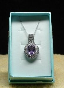 "Rose De France Amethyst, C Zircon Pendant in Platinum Over 925 SS with 20"" Chain"