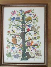 Vintage Dimensions Tree Of Life Animals Ellen Silver Crewel Completed Framed Exc