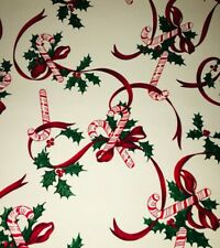 """Vtg Christmas Wrapping Paper Gift Wrap Candy Cane Ribbon Holly Nos 24"""" X 26�"""