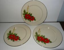 Christmas Dinner Plates Set of 3 Dripping Candle Lit Holiday Greenery Poinsettia