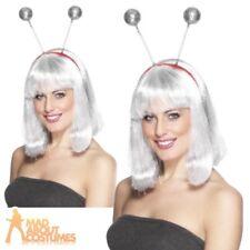 Glitter Ball Boppers On Headband Silver Christmas Disco Ladies Fancy Dress