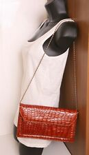 True Vintage Tan Brown Snakeskin Medium Clutch Shoulder Bag Retro 1980's Look