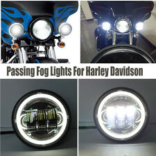 """Pair 4.5"""" Angel Eye LED Fog lights Halo DRL Driving Lamp For Harley Motorcycle"""