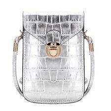 Elegante kleine Damen-Handtasche Schultertasche Krokoleder-Optik Silber
