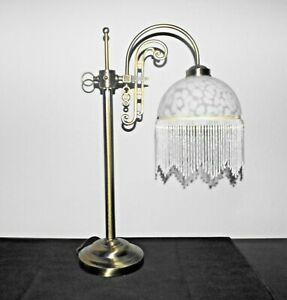"""LAMP TIFFANY STYLE 24""""H FANCY WHITE FROSTED GLASS & CAST METAL POLE THEMED LAMP"""