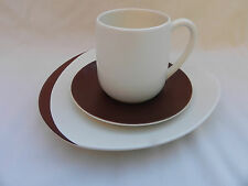 More details for carlton ware retro trio cup saucer & plate .brown & ivory.(b)
