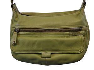 FOSSIL Handbag HOBO Shoulder Bag Purse, GREEN Leather MEDIUM authentic