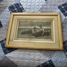 Antique Victorian Picture Frame,Delobbe Print, 2 Daughters of the Ocean, 1883