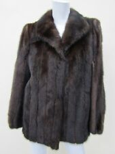 Evans Women's Mink Fur Dark Brown Coat Jacket Size 10