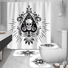 Bathroom Skull Shower Curtain Non-Slip Toilet Seat Cover Mats Rug Waterproof