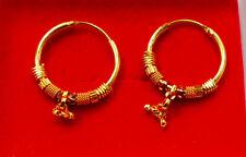 18k Gold Hoop Earrings Gold plated Indian Bollywood Jew 22mm width  u37/e19