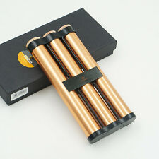 COHIBA Alloy Cigar Humidor Holder 3 Tube Travel Case With Humidifier Rose-Gold